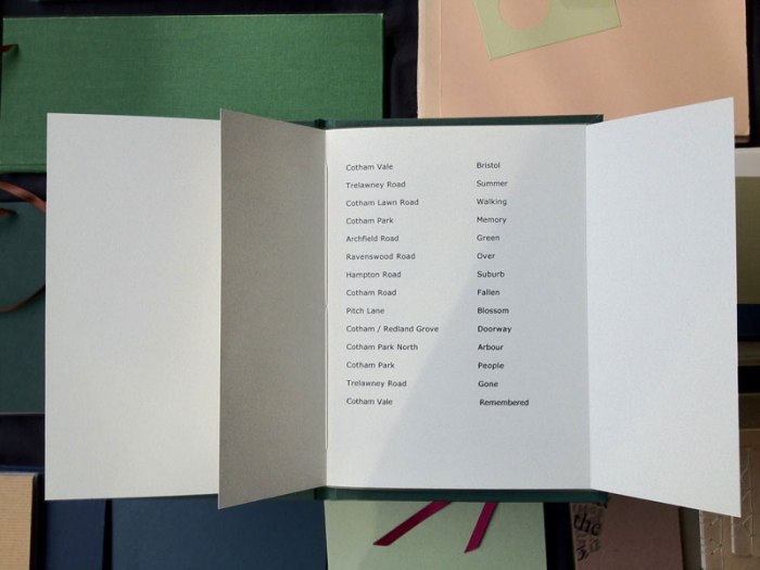 Guy Begbie 5 BS6 typographic artists book with variant page sequencing to alter the narrative